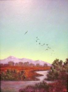 Toward the Irrigation Ditch - Asha Murthy MacDonald Fine Art - Landscape - Acrylic