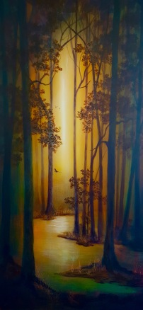 "Wonderland I - Acrylic & Shellac on Panel - 48"" x 24""$2500."